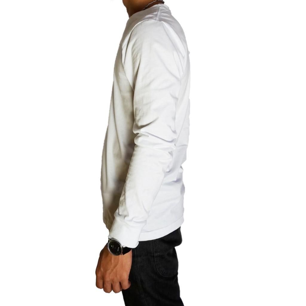 Baju Kaos Polos Putih Lengan Panjang 100 Cotton Combed 30s Reaktif Pria Katun Warna Merah Marun