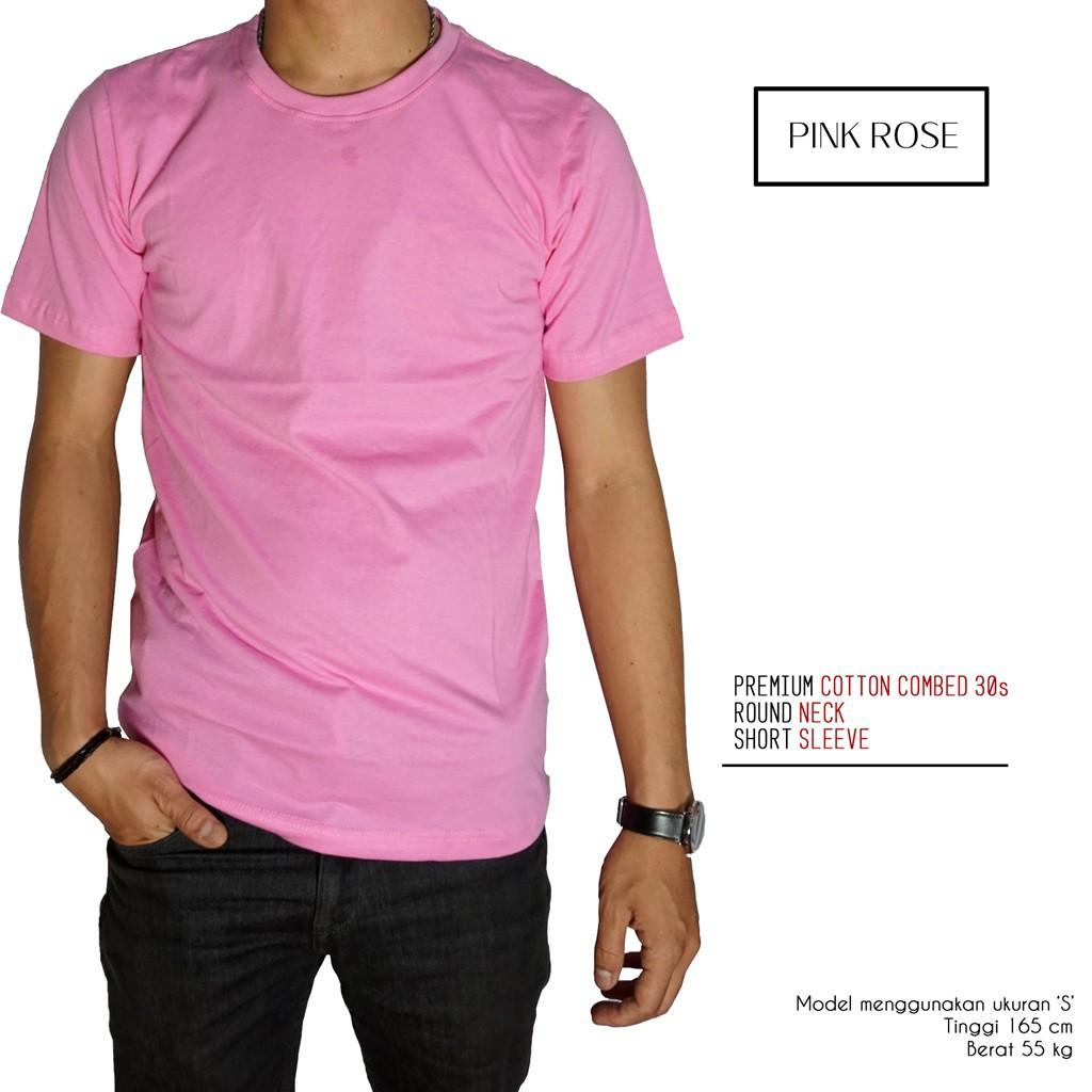 Naga Clothing Baju Kaos Polos Pink Rose 100 Cotton Combed 30s Reaktif